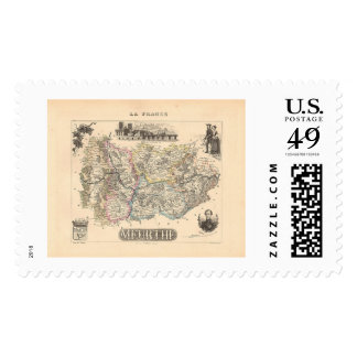 1858 Map of Meurthe Department, France Postage