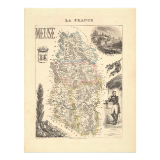 1858 Map of Meuse Department, France Flyer