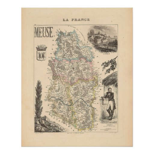 1858 Map of Meuse Department, France Poster