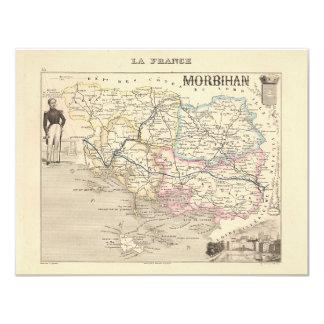 "1858 Map of Morbihan Department, France 4.25"" X 5.5"" Invitation Card"