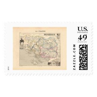 1858 Map of Morbihan Department, France Postage