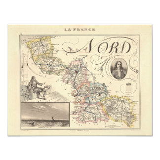 1858 Map of Nord Department, France 4.25x5.5 Paper Invitation Card