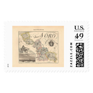1858 Map of Nord Department, France Postage