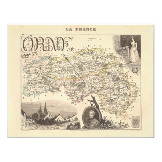 1858 Map of Orne Department, France 4.25x5.5 Paper Invitation Card