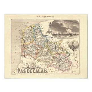 1858 Map of Pas de Calais Department, France 4.25x5.5 Paper Invitation Card