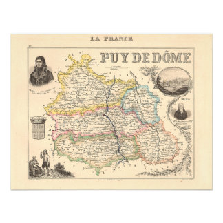 1858 Map of Puy de Dome Department France Custom Invitation
