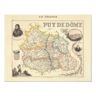 1858 Map of Puy de Dome Department, France Custom Invitation