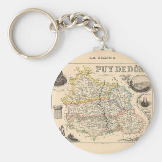 1858 Map of Puy de Dome Department, France Keychain