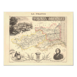 """1858 Map of Pyrenees Orientales Department, France 4.25"""" X 5.5"""" Invitation Card"""