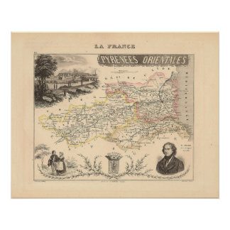 1858 Map of Pyrenees Orientales Department, France Poster