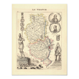 1858 Map of Rhone Department, France 4.25x5.5 Paper Invitation Card