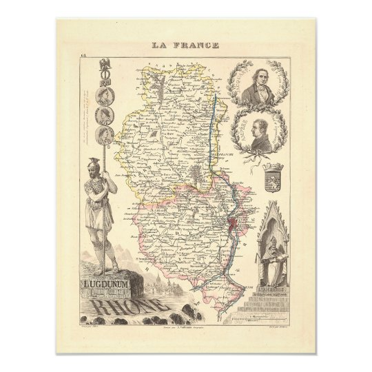 1858 Map of Rhone Department, France Card