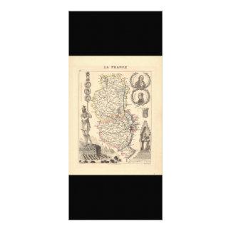 1858 Map of Rhone Department, France Rack Card Template