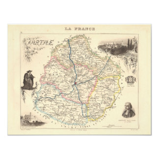 1858 Map of Sarthe Department, France 4.25x5.5 Paper Invitation Card