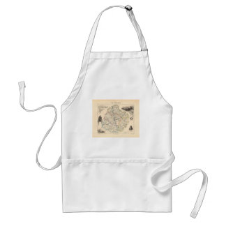 1858 Map of Sarthe Department France Aprons
