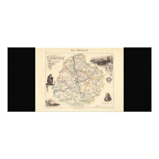 1858 Map of Sarthe Department, France Custom Rack Card