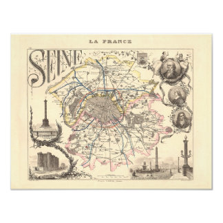 1858 Map of Seine Department, Paris France Card
