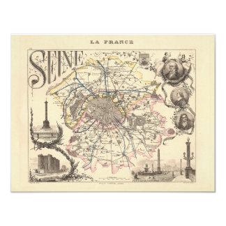 "1858 Map of Seine Department, Paris France 4.25"" X 5.5"" Invitation Card"