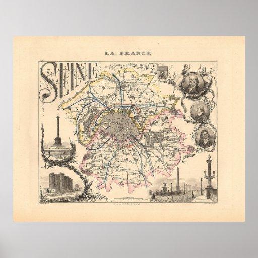 1858 Map of Seine Department, Paris France Print
