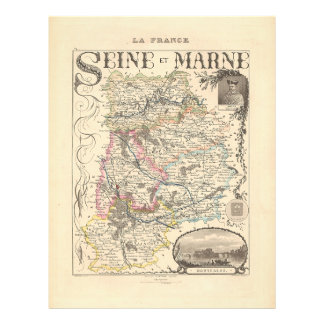 1858 Map of Seine et Marne Department, France Flyer
