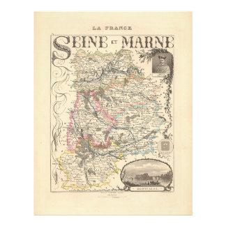 1858 Map of Seine et Marne Department, France Flyer