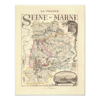 """1858 Map of Seine et Marne Department, France 4.25"""" X 5.5"""" Invitation Card"""