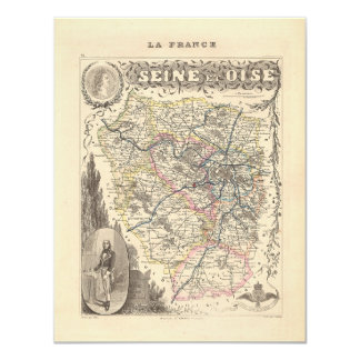 1858 Map of Seine et Oise Department, France 4.25x5.5 Paper Invitation Card