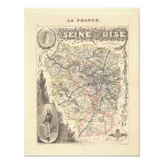 "1858 Map of Seine et Oise Department, France 4.25"" X 5.5"" Invitation Card"