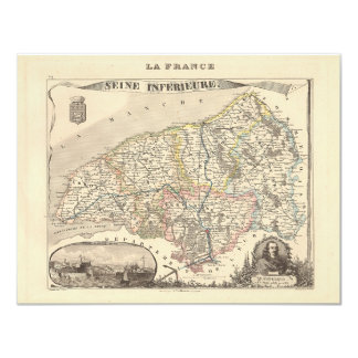 1858 Map of Seine Inferieure Department, France 4.25x5.5 Paper Invitation Card