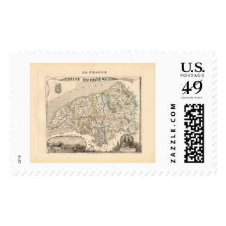 1858 Map of Seine Inferieure Department, France Postage