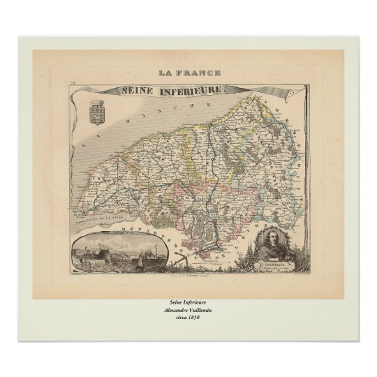 1858 Map of Seine Inferieure Department, France Poster