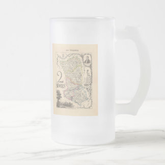1858 Map of Sevres Department, France Frosted Glass Beer Mug
