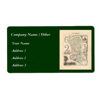 1858 Map of Sevres Department, France Label