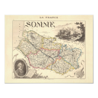 1858 Map of Somme Department, France 4.25x5.5 Paper Invitation Card