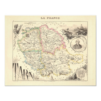 1858 Map of Tarn Department, France Card