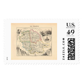 1858 Map of Tarn Department, France Postage
