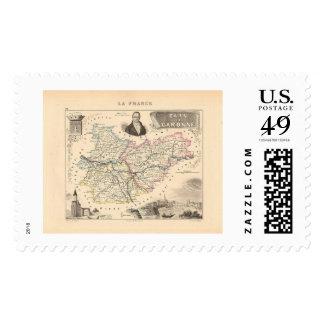 1858 Map of Tarn et Garonne Department, France Postage