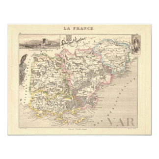 1858 Map of Var Department, France 4.25x5.5 Paper Invitation Card