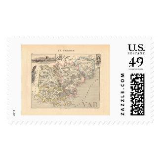 1858 Map of Var Department, France Postage