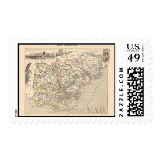 1858 Map of Var Department, France Stamp