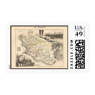 1858 Map of Vaucluse Department, France Stamps