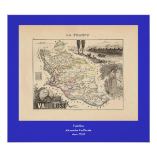 1858 Map of Vaucluse Department, France Poster