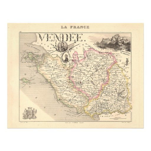 1858 Map of Vendee Department, France Flyer