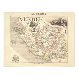 """1858 Map of Vendee Department, France 4.25"""" X 5.5"""" Invitation Card"""