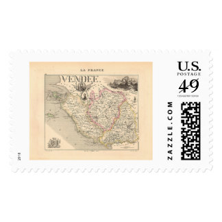 1858 Map of Vendee Department, France Postage