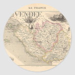 1858 Map of Vendee Department, France Round Stickers