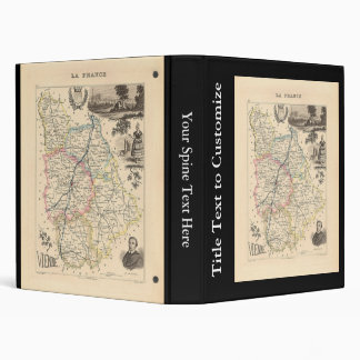 1858 Map of Vienne Department, France 3 Ring Binder