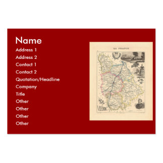 1858 Map of Vienne Department France Business Card