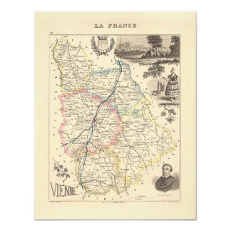 1858 Map of Vienne Department, France Card
