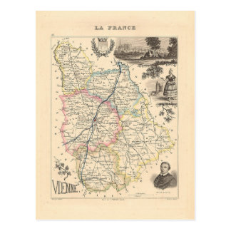 1858 Map of Vienne Department, France Postcard